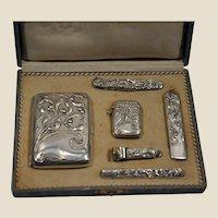 German 800 silver smoker set. Original box
