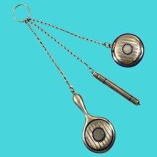 Art deco sterling silver enameled chatelaine; three links.