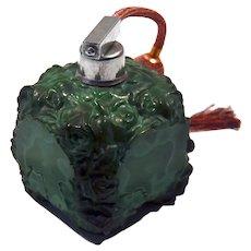 "1920's Czech perfume atomizer ""Paté de verre"" Malachite glass"