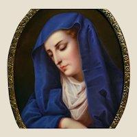 Big, hand painted Virgin Mary porcelain plaque framed