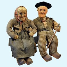 Amazing character faces folk old couple fabric dolls