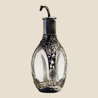 1920's Rare 950 sterling silver & glass Art Deco chinoiserie perfume bottle
