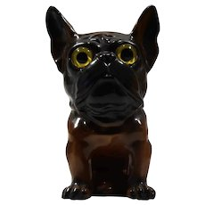 Spectacular Ca 1930 French Bulldog glass eyes, German porcelain wall vase