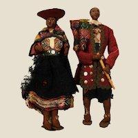 Rare XIX century Bolivian folk dolls couple