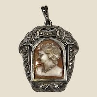 Sterling silver 935, natural shell cameo & marcasites pendant