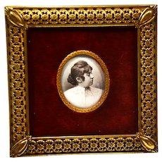 Mathieu Deroche, B&W signed 1878, Lady in her dress, photo portrait w/ frame