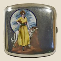 Art deco 800 silver & enamel cigarette case