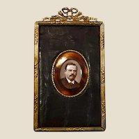 Mathieu Deroche, B&W signed 1889, Mature gentleman, photo portrait w/ frame