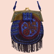 1900s Big and colored beads & celluloid frame purse