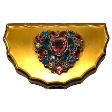 Vintage 30/40's heavily jeweled golden metal compact