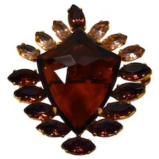 Big costume 50's stones shield shape burgundy brooch