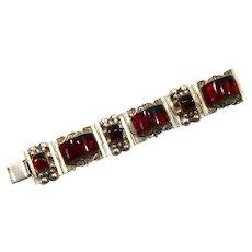 1930's Art deco Sterling silver & bakelite (tested) bracelet
