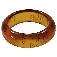 Wide chunky genuine bakelite (tested) bangle bracelet  cubism design carved
