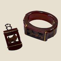 Wide chunky genuine bakelite (tested) clamper bracelet & dress clip