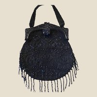 Unusual & big mourning beaded purse, celluloid frame