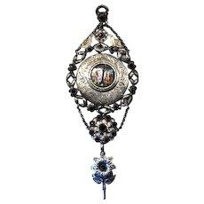 Rare XVII Century silver, garnets & enamel pendant of chains
