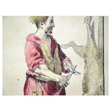 Original master burin engraving; Annibale Carracci;  Cries of bologna ca. 1650