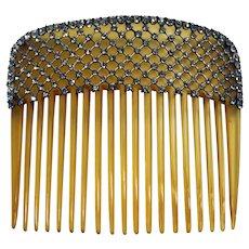 Beautiful 1910s genuine blonde shell & rhinestones mesh hair comb