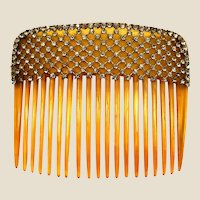 Beautiful 1910'S faux blonde shell & rhinestones mesh hair comb