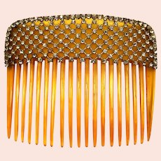 Beautiful 1910'S faux blonde shell & rhinestones mesh hair comb