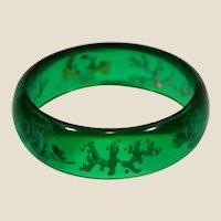 Great genuine bakelite (tested) bangle bracelet under sea design carved