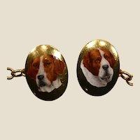 Barnet Henry Joseph 18K gold, hunting dogs enameled cufflinks