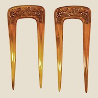 Beautiful 1890/ 900 couple of faux blonde tortoise, hand carved, comb