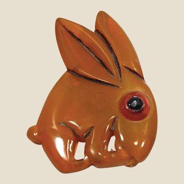 1930's Bigger bakelite (tested) hand carved, googly eye rabbit brooch