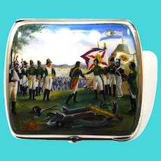 Unique enameled Sterling 935 Independence war cigarette case