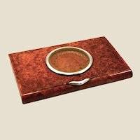 Solid French walnut root & silver, cigarette case w/ roulette