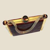 Luxury 1930's alligator, bakelite (tested) & golden frame vanity case