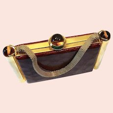 Luxury 1930's alligator, bakelite (tested) & golden frame vanity case