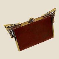 1930's caramel bakelite (tested) Imposing frame vanity case