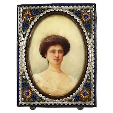 XIX Century oil miniature portrait of a Lady micro mosaic frame