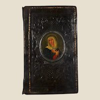 Rare 1859 German pilgrim book  with oil miniature of Catherine of Siena