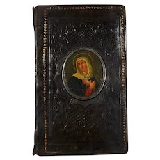 Rare 1859 German pilgrim book  with oil miniature of Catherine of Siena
