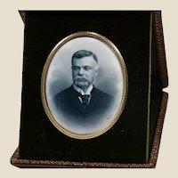 Mathieu Deroche, blueprint signed 1900, cute Gentleman, photo portrait w/ travel case