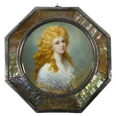 French miniature portrait of a Lady by D. Guerín. Silver & Mother of pearl frame