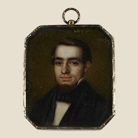 Ca. 1820 German miniature portrait, 16K gold, silver, locket