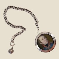 French Chatelaine Locket w/ portrait of Napoleonic army officer