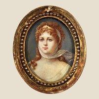 Miniature portrait 18/19 C. depicting Queen off Prussia Louise of Macklenburg-Strelitz in Artemis Goddess costume