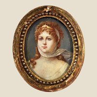Regency French miniature portrait of a Lady representing the Goddess Diana