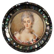 XVIII century French century miniature portrait of a Lady stunning frame