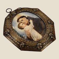 XIX century Italian miniature portrait of Saint Antoine