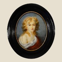 XVIII Century oil English miniature portrait of a Young. Lacquered frame