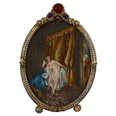 "French XVIII century miniature erotic scene ""the bath"" jewelled frame"