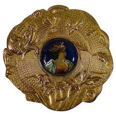 French enameled miniature portrait guilt brass framed