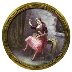 """Ca 1890 large hand painted """"Gypsy musician"""" porcelain plaque"""