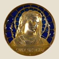 Big antique silver plique a jour enamel signed E. Dropsy medal
