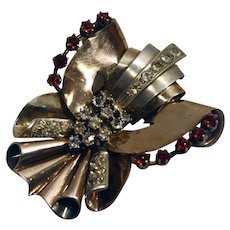 1930s Art Deco 900 silver gold plated clear & red rhinestones dress clip